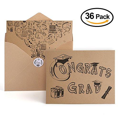 Kuuqa 36 Pcs Foldable Graduation Greeting Cards and Envelopes with 40 Writable Stickers for Celebrating Graduation