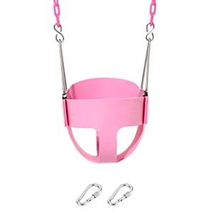 Take Me Away Pink Swing Seat - Toddler High Back Full Bucket Swing - with Plastisol Coated Chains - Swing Set Accessories