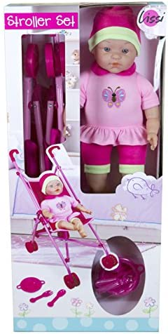 Lissi Doll Umbrella Stroller Set with 16″ Doll Role Play Toy – The Super Cheap