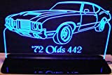 1972 Olds Cutlass 442 Acrylic Lighted Edge Lit 12'' Reflective Black Mirror Base 15 LED Sign Light Up Plaque 72 VVD10 Made in the USA