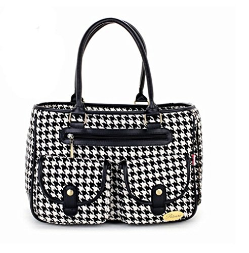 Black White Houndstooth Portable Female Pet Travel Carrier Bag -
