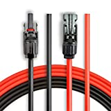 BougeRV 20 Feet 10AWG Solar Extension Cable with MC4 Female and Male Connector Solar Panel Adaptor Kit Tool (1 Pair)