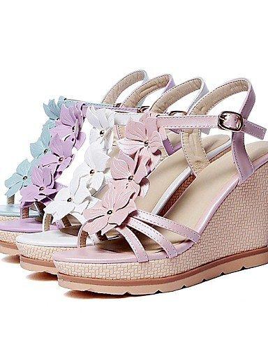 ShangYi Womens Shoes Wedges Heels/Sling back/Open Toe Sandals Dress/Casual Blue/Pink/Purple/White Purple