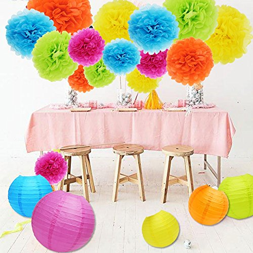 APLANET Set of 20 Assorted Rainbow Color Paper Pom Poms and Paper Lanterns, 5 Colors, for Party, Baby Shower and Wedding Decorations by APLANET USA (Image #5)