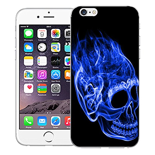 "Mobile Case Mate iPhone 6S 4.7"" Silicone Coque couverture case cover Pare-chocs + STYLET - Inferno Skull Blue pattern (SILICON)"