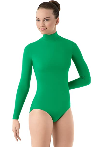 2d29d6f19e9f6 Balera Leotard Girls One Piece Bodysuit For Dance Long Sleeve Mock Neck Turtleneck  Spandex Kelly Child