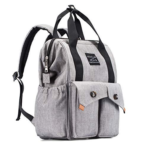CATLIN Diaper Bag Backpack Multi-Function Waterproof for Girl and Boys Large Capacity Stylish Durable and Insulated (Grey)