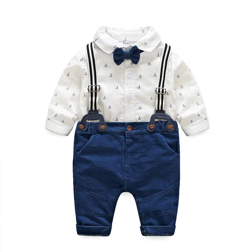 Newborn Infant Clothing Sets, Long Sleeve White Onesies+Denim Pants+Bow Tie+Suspenders,Baby Boys Gentleman Outfits Suits