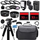 Advanced Camcorder Video Camera Accessory Holiday Package Kit includes (2) High Capacity BP-970 BP970 Replacement Battery with Car/International Charger + Deluxe Carrying Travel Case + Digital LED Video Photo Light + (2) 32GB Memory Card + 58mm 0.43x High
