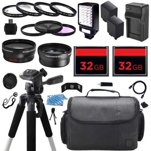 Advanced Camcorder Video Camera Accessory Holiday Package Kit includes (2) High Capacity BP-970 BP970 Replacement Battery with Car/International Charger + Deluxe Carrying Travel Case + Digital LED Video Photo Light + (2) 32GB Memory Card + 58mm 0.43x High by ECD