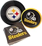 Pittsburgh Steelers Football Party Supply Pack! Bundle Includes Paper Plates & Napkins for 8 Guests