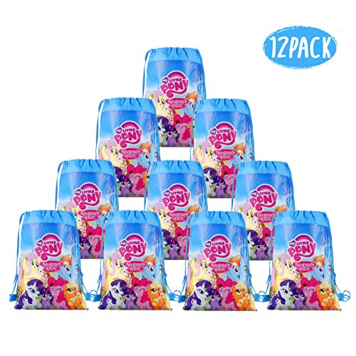 LUCK COLLECTION My Little Pony Bags Party Treat Drawstring Bags for Kids Birthday Party, 12 Pack (Blue) ()