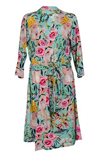 Posh Peanut Mommy Robe for Maternity, Labor Delivery Nursing Robe, Soft Bamboo Lounge Wear (Tuscan Teal, X-Large (12-14)) -