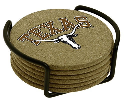 Thirstystone University of Texas with Holder Included Cork Gift (Texas Longhorns Coaster Set)