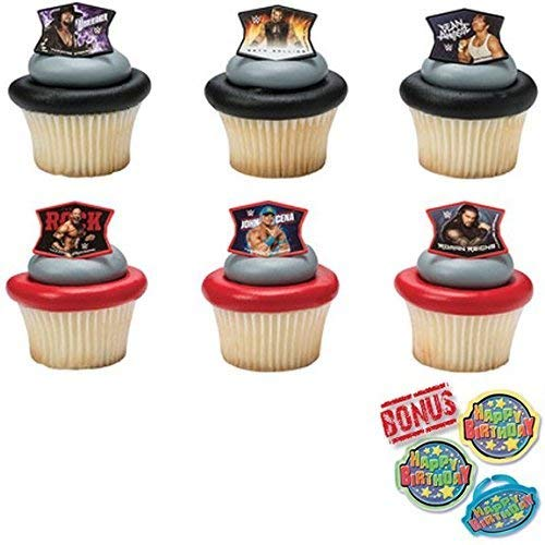WWE Ringleaders Cupcake Toppers and Bonus Birthday Ring - 25 pieces ()