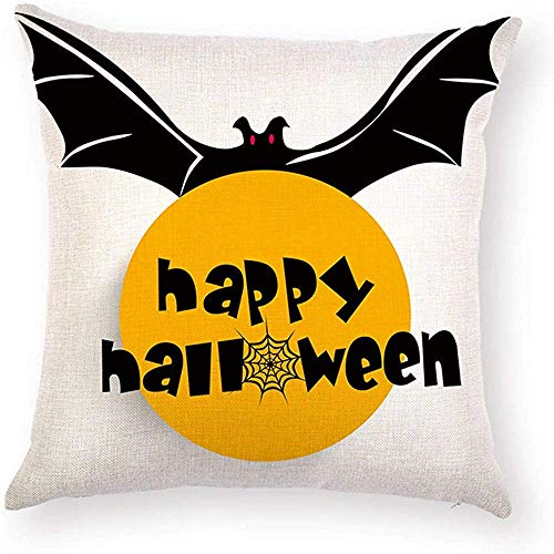 Fhdang Decor Lovely Fashion Funny Bat Sayings Happy Halloween Quotes Pillowcase Spiderweb Printed Pillow Case Cushion Cover Decorative Protector Square 18 x 18 inch for Living Room