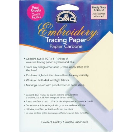 DMC U1541 Embroidery Tracing Paper, Yellow/Blue, 4-Sheets (Embroidery Dmc Transfer)
