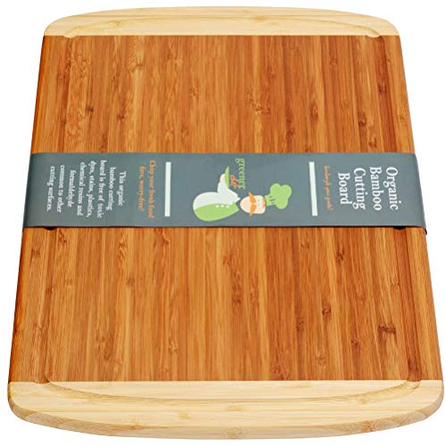 (Greener Chef Extra Large Bamboo Cutting Board for Kitchen - Lifetime Replacement Boards - 18 x 12.5 Inches - Organic Wood Butcher Block and Wooden Carving Board for Meat and Chopping Vegetables )