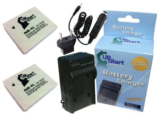 2 Pack - Replacement for Canon Digital IXUS 70 Battery + Charger with Car & EU Adapters - Compatible with Canon NB-4L Digital Camera Battery and Charger (890mAh 3.7V Lithium-Ion) ()