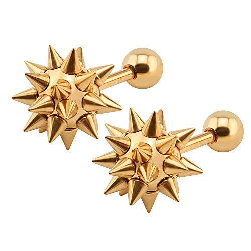 16g 316L Surgical Stainless Steel Spiked Ball Stud Earrings tribal Punk Men Earrings (Rose gold) -