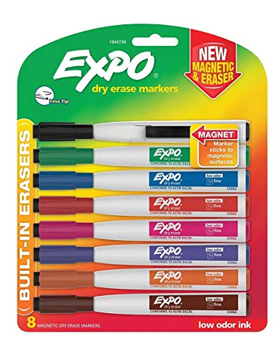EXPO 1944748 Magnetic Dry Erase Marker Fine Tip Assorted 8/Pack