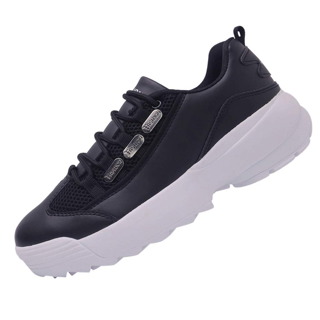 Platform Sport Shoes Women,Mosunx Athletic 【Mesh Arch Support】Lightweight Breathable Lace Up Non-Slip Chunky Sneakers (7.5 M US, Black)