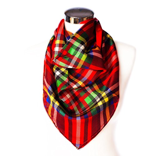 Royal Stewart Tartan (Dunedin 100% Silk Women's 14Mm Screen Printed Square Stewart Royal Repeat Tartan)
