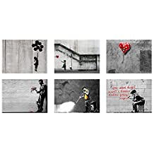 "Alonline Art - There Is Always Hope Girl With Balloons There Is Always Hope Banksy VINYL STICKER DECAL 27""x20"" - 68x51cm Set of 6 Lot Artwork Wall Art Stickers Adhesive Vinyl Decal For Living Room"