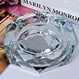 Home Windproof Ashtray Crystal Glass Cigar Living Room Office Indoor And Outdoor Ashtray (Silver) ( Size : 20CM )