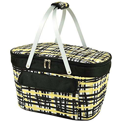 Cheap Picnic at Ascot Large Family Size Insulated Folding Collapsible Picnic Basket Cooler with Sewn in Frame (Paris)