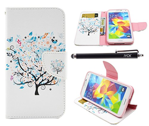 Butterfly Floral Wallet - S5 Case, Galaxy S5 Case, iYCK Premium PU Leather Flip Folio Carrying Magnetic Closure Protective Shell Wallet Case Cover for Samsung Galaxy S5 with Kickstand Stand - Butterfly Floral Tree