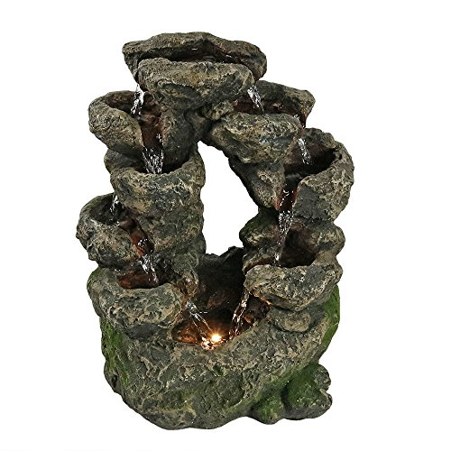 Sunnydaze Multi-Level Split Rock Falls Tabletop Water Fountain with LED Light, 10 Inches Wide x 14 Inch Tall