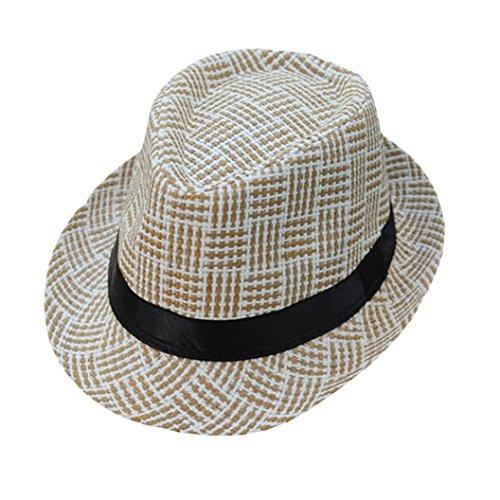 Cocomarket Unisex Trilby Gangster Cap Lattice Pattern Beach Sun Straw Hat Band Sunhat  C