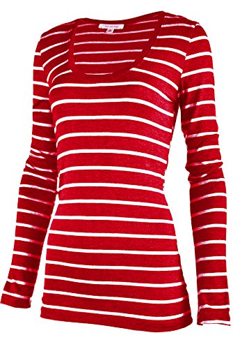 Wide Striped Shirt (ViiViiKay Womens V-neck & Round Neck Long Sleeve Slim Fit Casual Striped T-shirt RED_WHITE M)