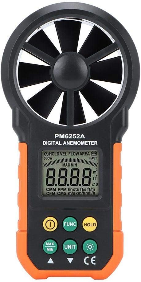 ZYL-YL Anemometer with Humidity Test PM6252A Hand-Held Digital Anemometer Wind Meter Gauge Wind Air Volume Measuring Instrument for Weather Data Collection Outdoors Surfing Fishing