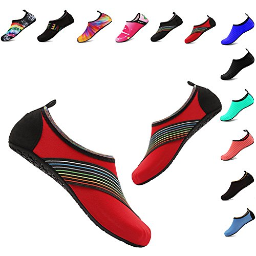 Men and Women Slip-On Water Shoes Lightweight Barefoot Quick-Dry Aqua Yoga Socks For Outdoor Beach Sports(XB/Red,40/41EU)