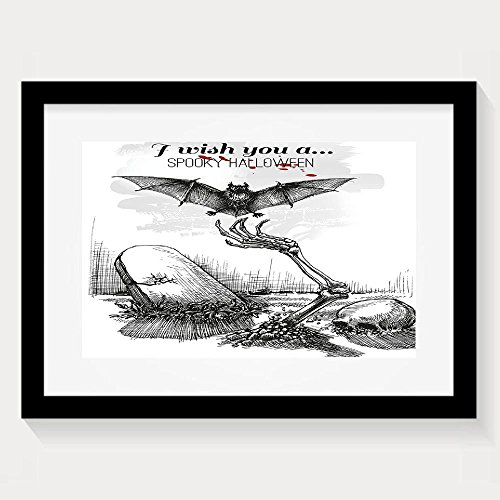 HEI Funny Halloween Dead Skull Zombie Out Of Grave And Flying Bat Hand Drawn Style Spooky Framed Wall Art Prints 13x9.5 (Diy Halloween Grave Decorations)