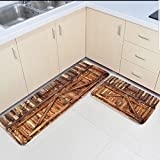 Infinidesign Non-Slip Kitchen Mat Doormat Runner Bathroom Rug 2 Piece Sets - Wood Grain Runner Carpet Set - 19.7''x31.5''+19.7''x63''