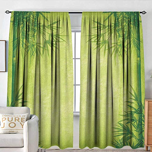 NUOMANAN Rod Pocket Curtains Bamboo,Chinese Banmboo Trees Design Asian Fengshui Style Simple Organized Relaxing Life Image, Green,for Room Darkening Panels for Living Room, Bedroom 120
