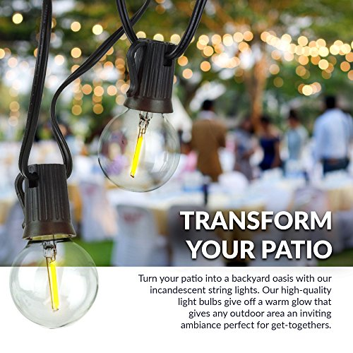 Newhouse Lighting 48 Foot Outdoor String Lights Led Bulbs: Newhouse Lighting Outdoor Globe LED String Lights