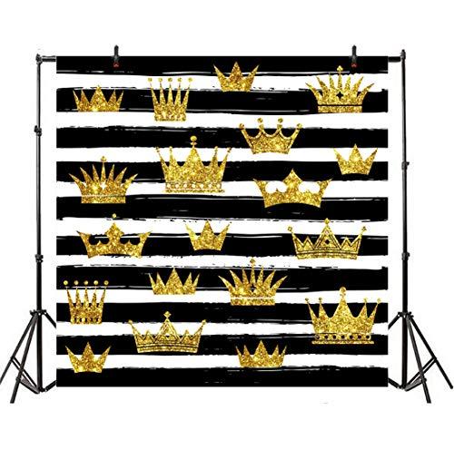 Leyiyi 5x5ft Black White Stripes Photography Background Luxury Crown Striped Banner Glitter Sequins Shining Princess Backdrop Wedding Baby Shower Kids Birthday Photo Portrait Vinyl Studio Prop