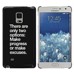 Progreso Ninguna excusa de motivación inspiradora- Metal de aluminio y de plástico duro Caja del teléfono - Negro - Samsung Galaxy Mega 5.8