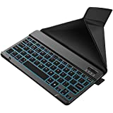 Nulaxy KM12 LED Backlit Bluetooth Keyboard Business Portable Rechargeable for Apple iPad iPhone Samsung Android Windows Tablets Phones Keyboard Cover - Black
