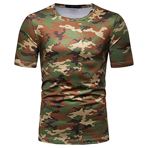 OrchidAmor 2019 Summer Mens Fashion Casual Round Collar Camouflage Short Sleeve Top Blouse