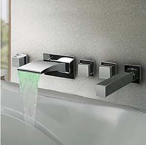 5pcs Led Colors Waterfall Bathroom Tub Faucet Wall Mounted