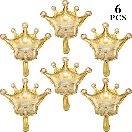 Crowns Gold Foil - 6 Pieces Medium Gold Crown Balloons