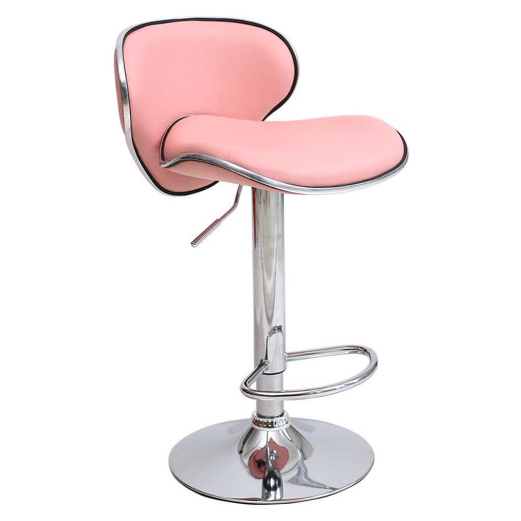 A HQCC Modern Style bar Stool, Adjustable Swivel Lift, backrest and Chrome Footstool, Kitchen and Family Barstools (color   A)