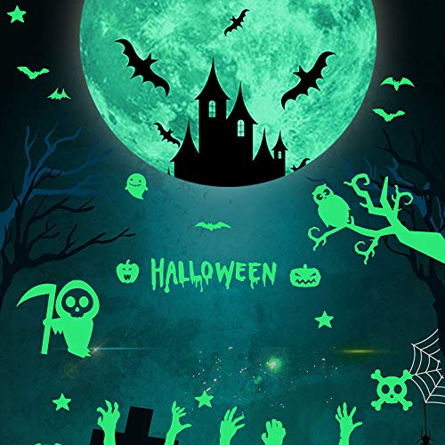 Dazlinea Wallpaper Ghost Bat Moon Star Glowing in The Dark Removable Wall Sticker Halloween Decor (Multicolor)