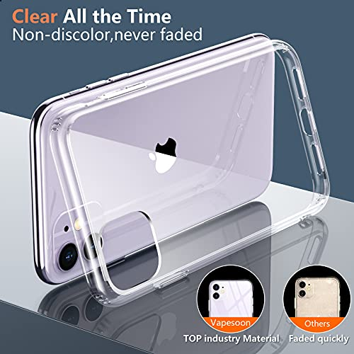 Vapesoon Designed for iPhone 11 Cases, Crystal Clear Phone Case [Not Yellowing] [Military Grade Drop Tested] Shockproof Protective Case Slim Thin Cover for iPhone 11(6.1\'\') (Clear)