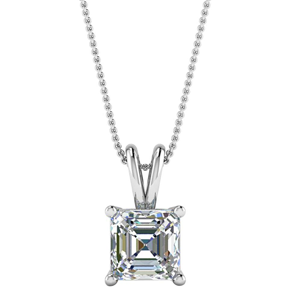 925 Sterling Silver 1.00 Ct Asscher Cut Simulated Diamond Solitaire Pendant With Chain